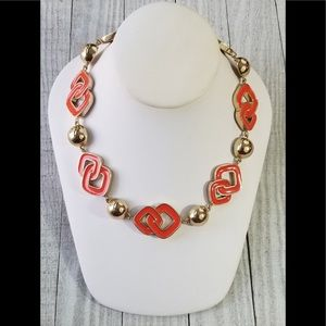 Orange Color with Gold Tone Hardware Necklace